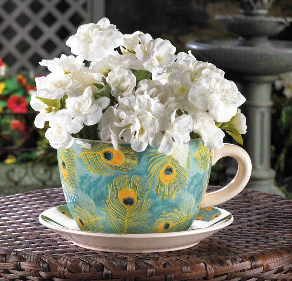 Large Tea Cup Planter Wholesale Peacock Teacup Planter