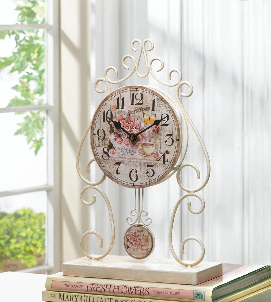 Buy Clock Wholesale Country Rose Tabletop Clock