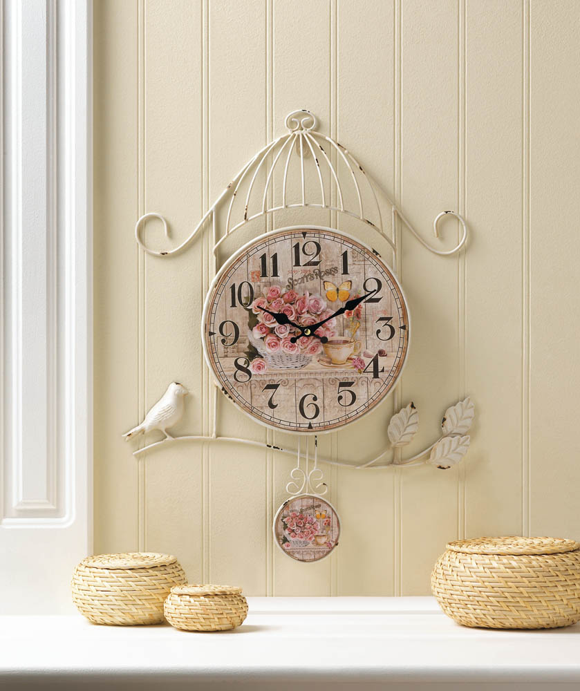 Buy Clock Wholesale Birdcage Country Rose Wall Clock