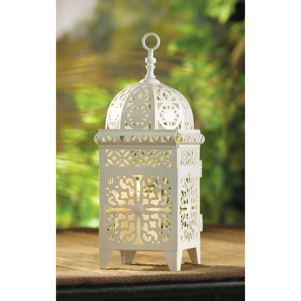 white scrollwork candle lantern lanterns for weddings Wholesale White Scrollwork Candle Lantern for sale at bulk cheap prices