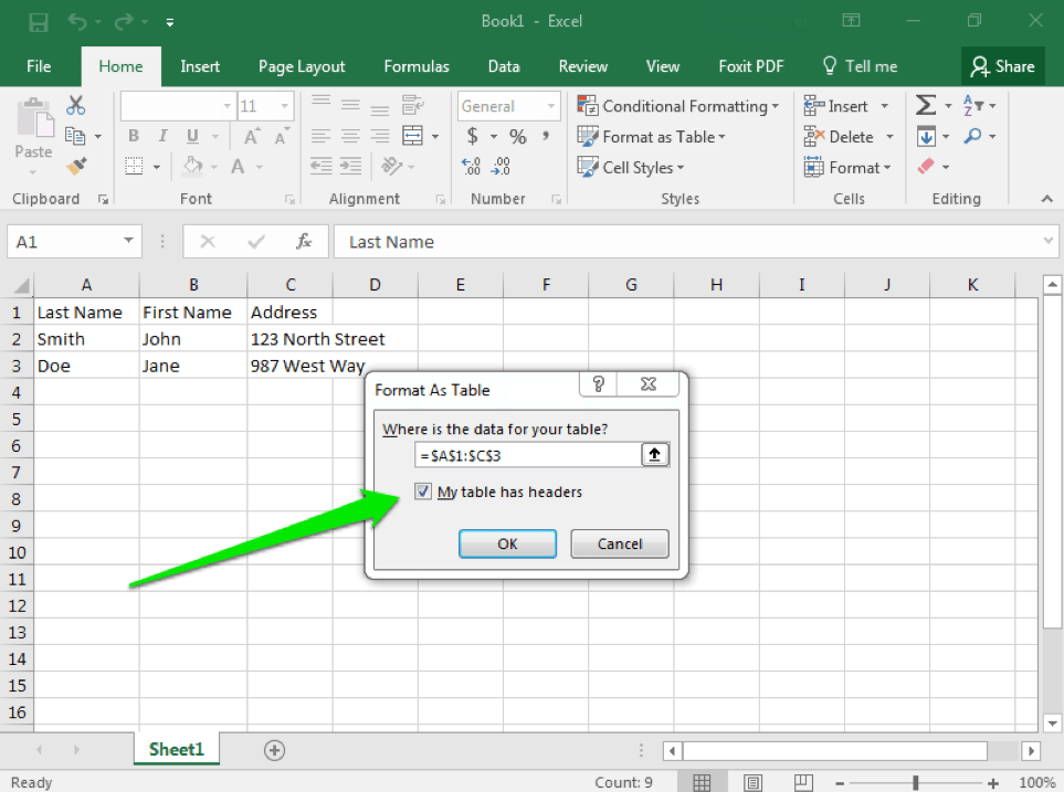 how to create a table in excel