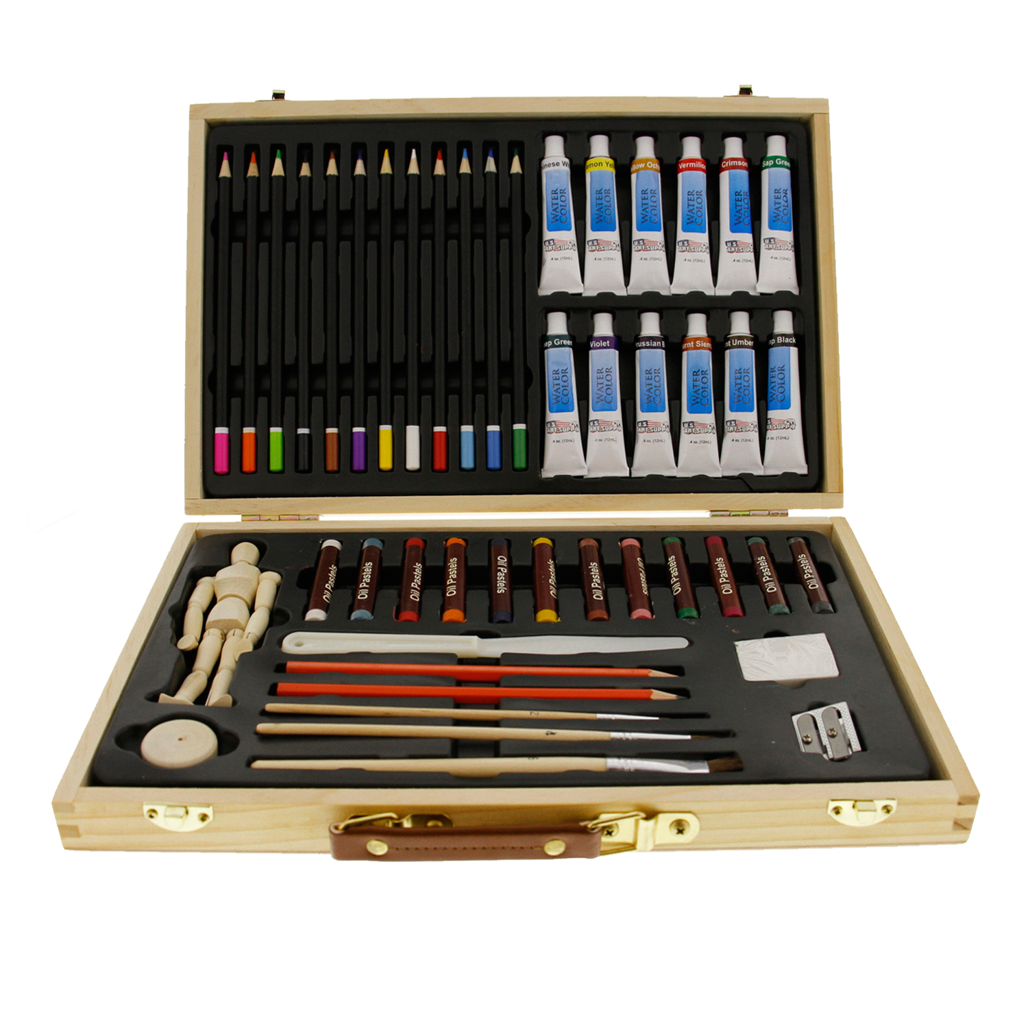 Us Art Supply 46 Piece Watercolor Painting Set With Wooden