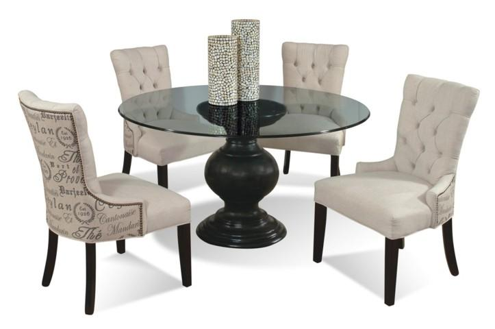 5 Piece Contemporary Round Glass Table And Upholstered