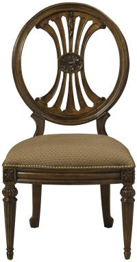 Oval Back Dining Side Chair with Coffee Colored Upholstery