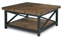 Square Cocktail Table with Metal Base and Wood Plank Top ...