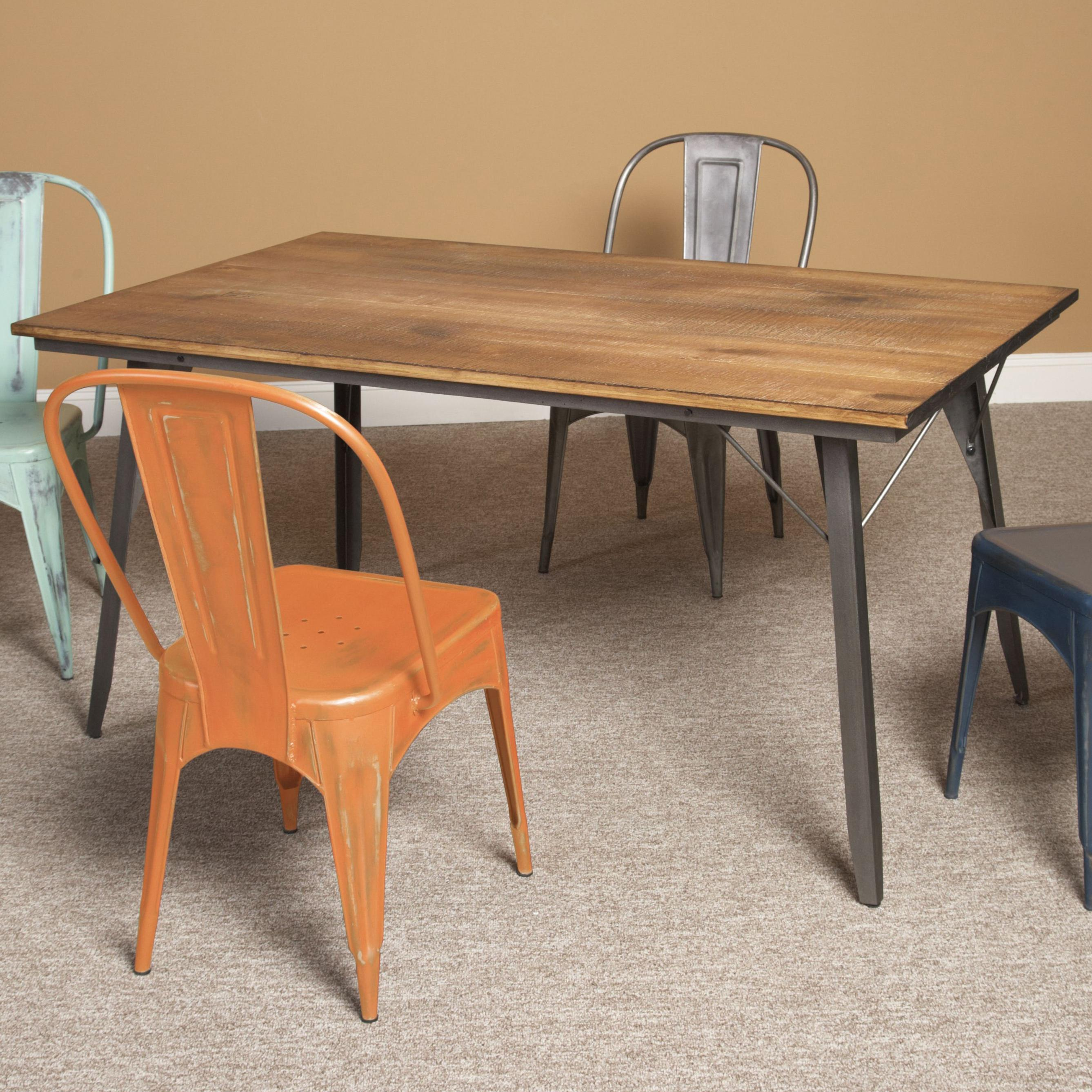 wooden kitchen table Wood Metal Rectangular Dining Table