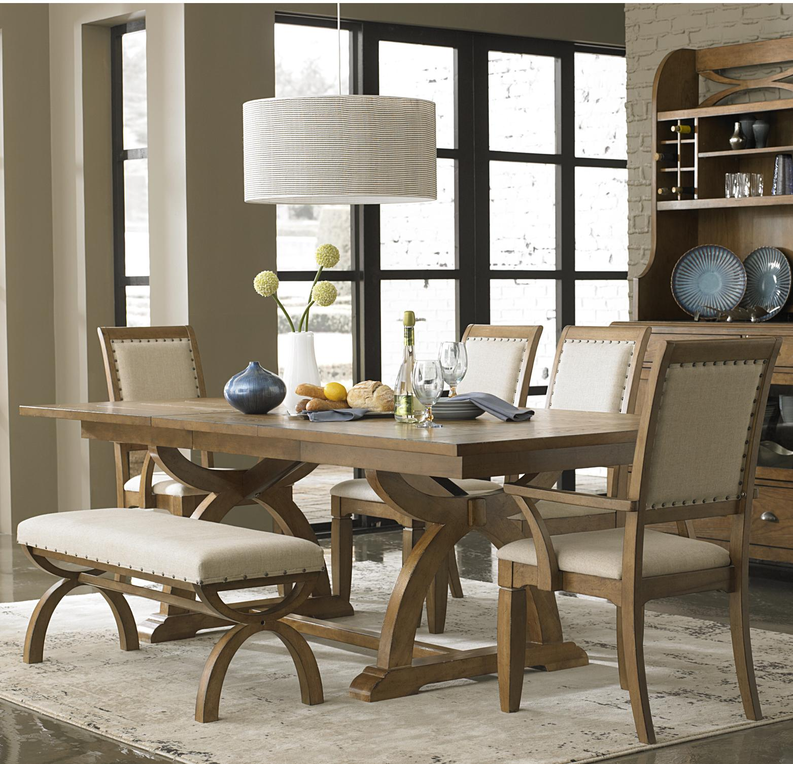 bench for kitchen table 6 Piece Trestle Table Set with 4 Upholstered Chairs Dining Bench