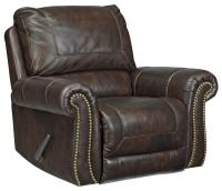 Traditional Leather Match Rocker Recliner with Rolled Arms ...