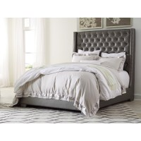Queen Upholstered Bed with Tall Headboard with Faux ...