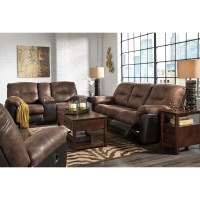 Two-Tone Faux Leather Reclining Sofa by Signature Design ...