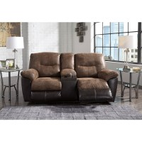 Two-Tone Faux Leather Double Reclining Loveseat w/ Console ...
