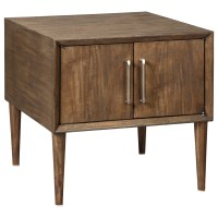 Mid-Century Modern Square End Table with 2 Doors by ...