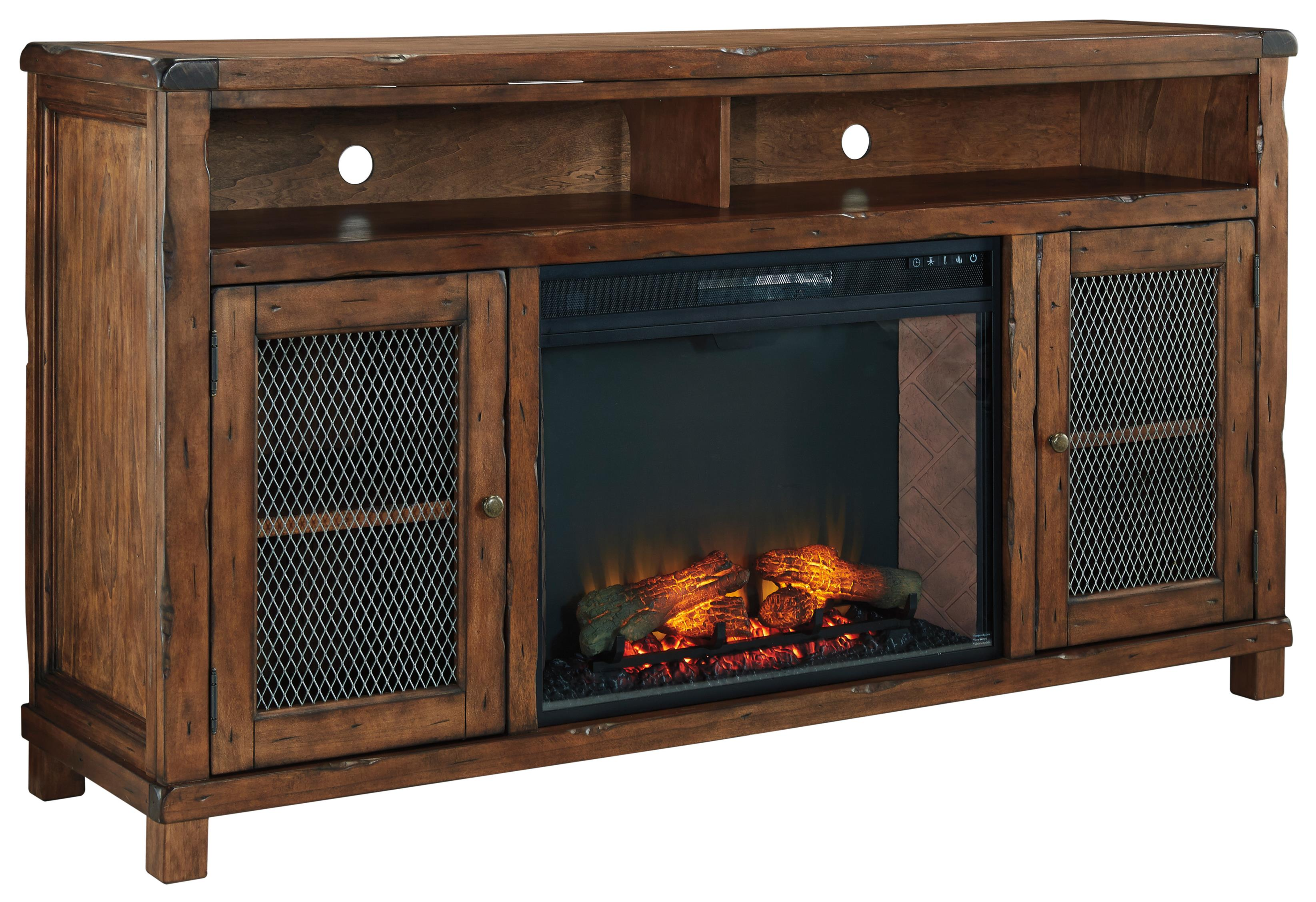 Rustic Mango Veneer Xl Tv Stand With Electric Fireplace