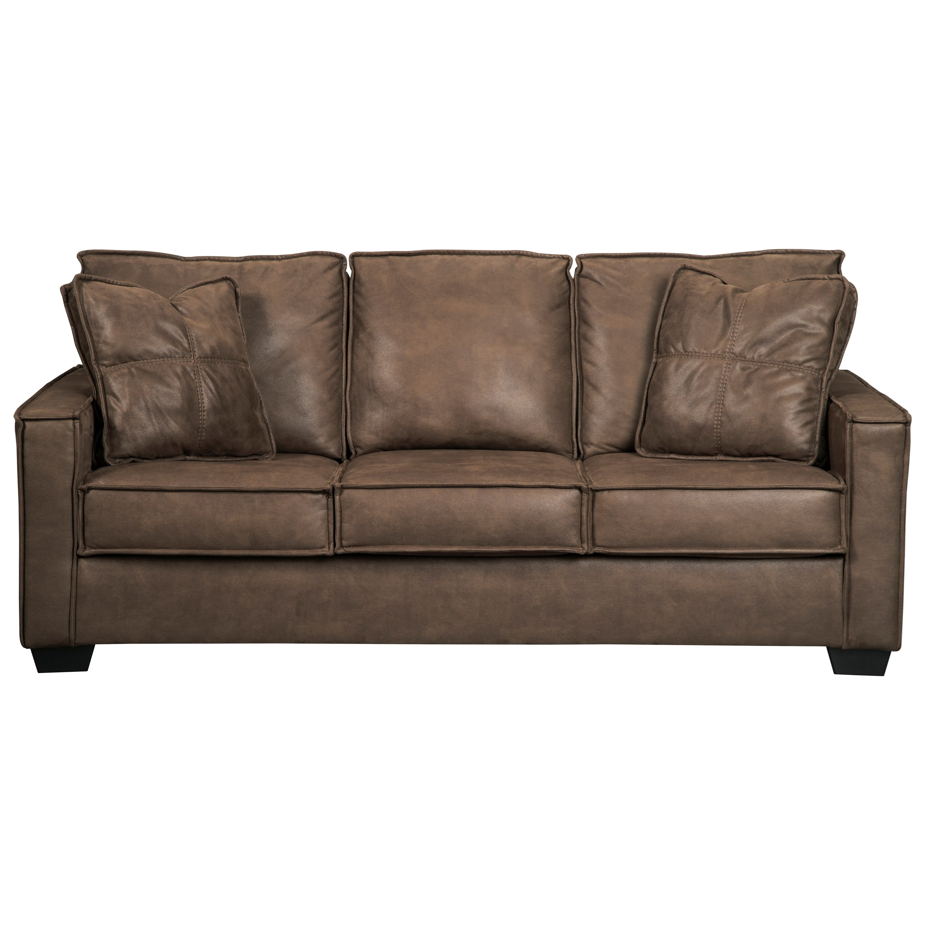Kunstleder Couch Faux Leather Sofa With Piecrust Welt Trim By Signature