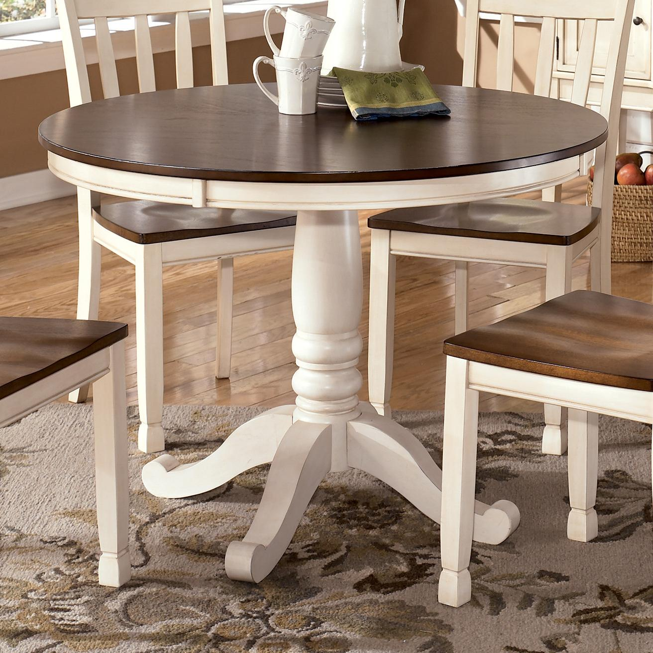 two tone kitchen table Two Tone Round Table with Pedestal Base
