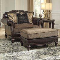 Traditional Chair and a Half & Ottoman by Signature Design