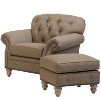 Traditional Button-Tufted Chair and Ottoman Combination by ...