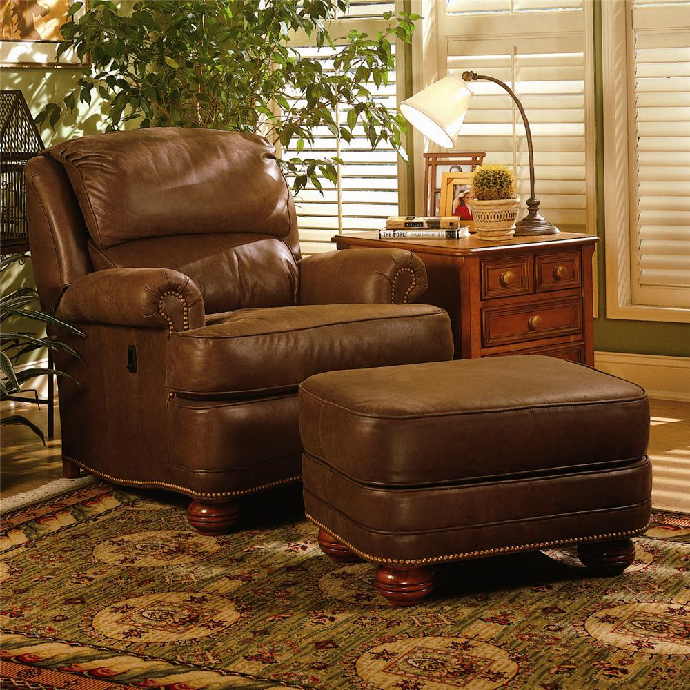 Leather Chairs And Ottomans Sale Upholstered Tilt Back Reclining Chair Ottoman By Smith Brothers