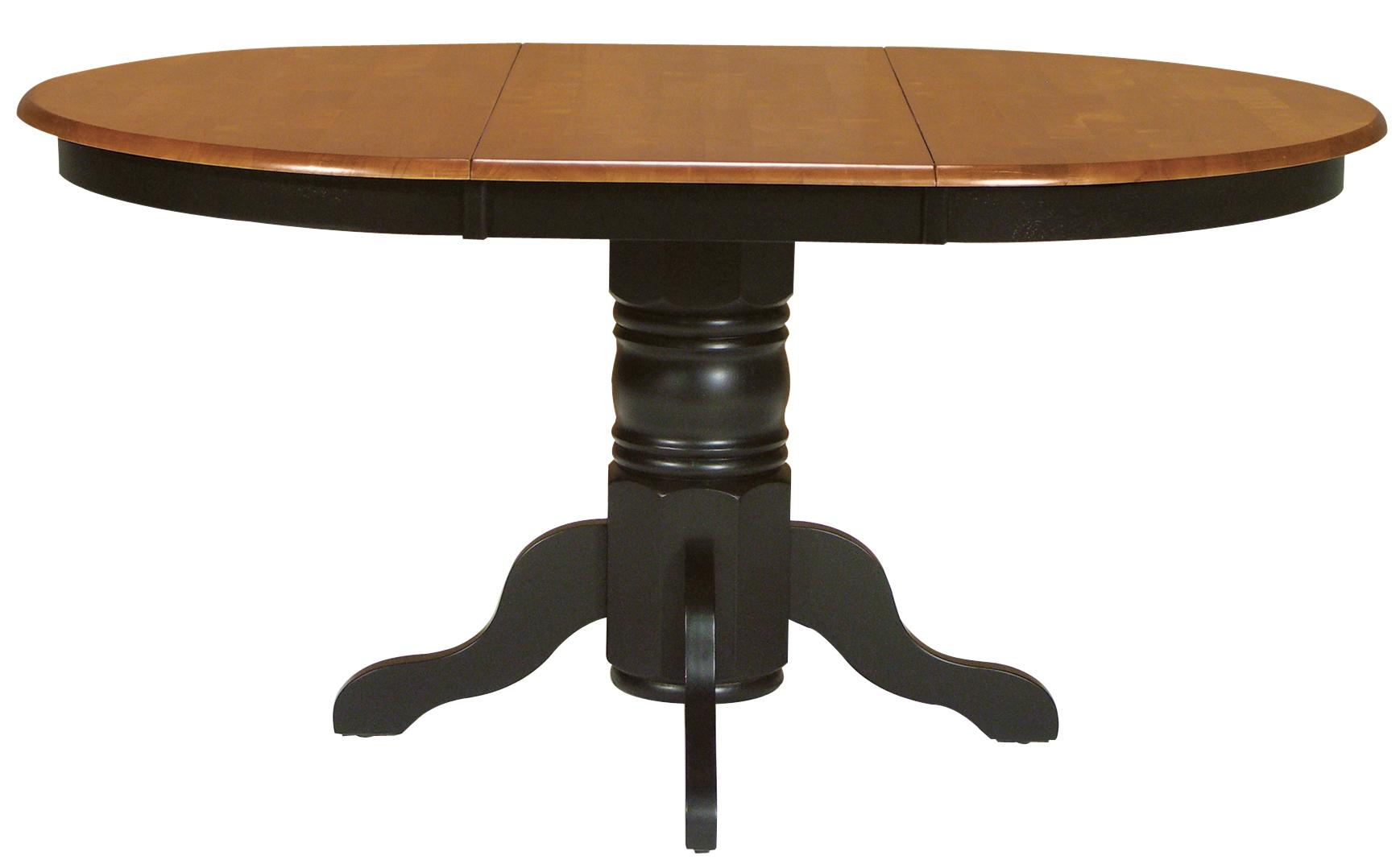 Two toned oval dining table with turned pedestal base