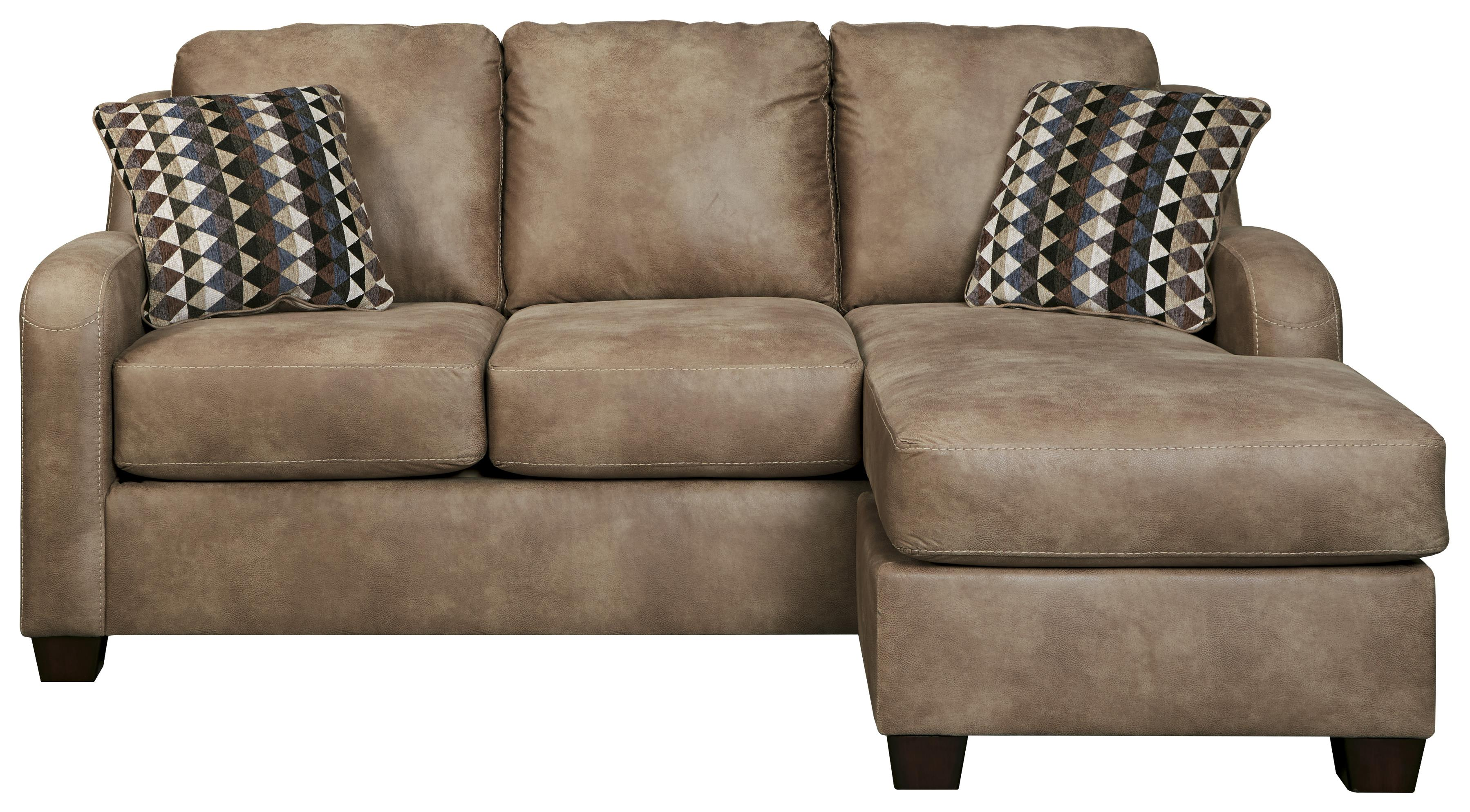 Leather Sofa With Chaise Contemporary Faux Leather Sofa Chaise By Benchcraft Wolf