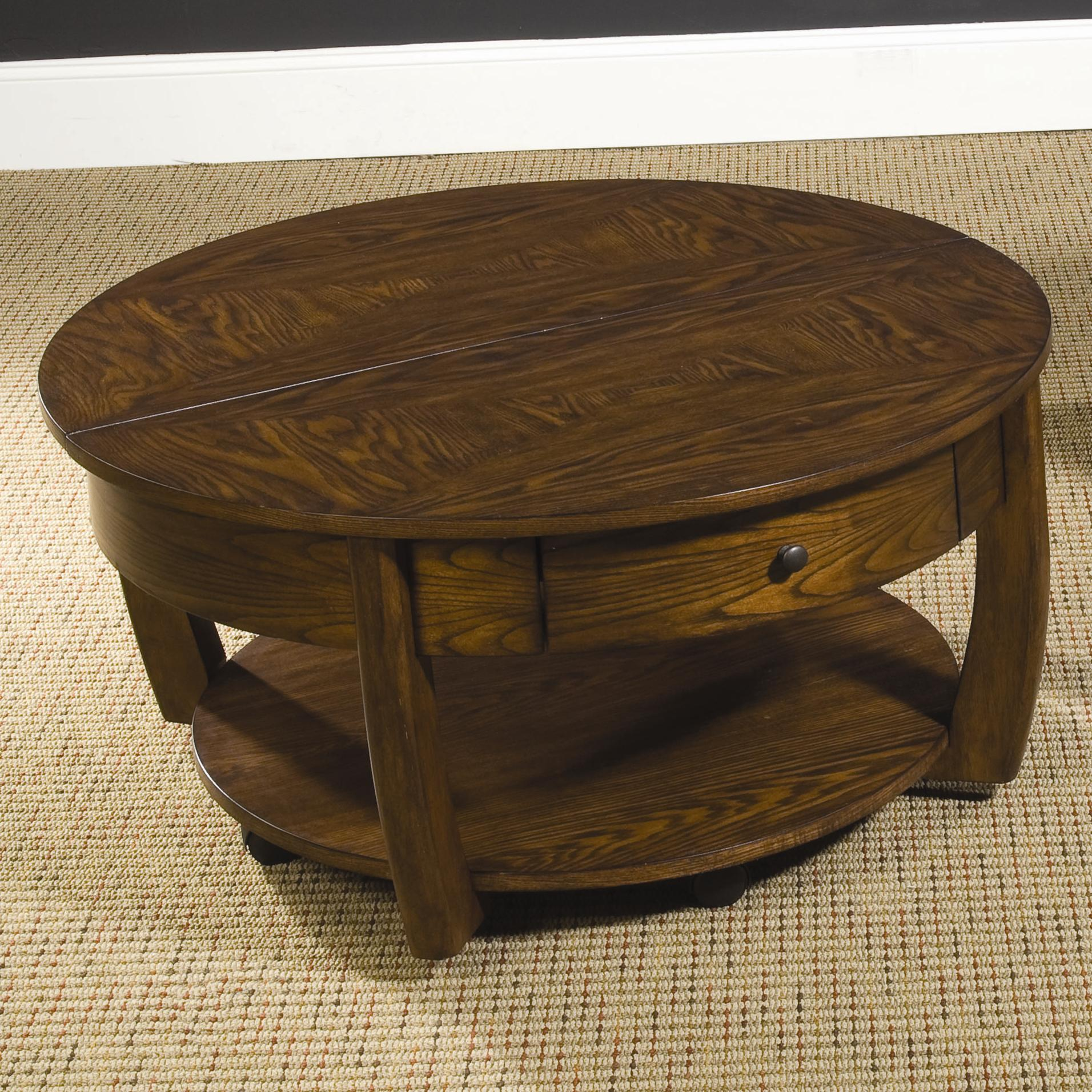 Round Coffee Table With Drawers Round Lift Top Cocktail Table With Lower Shelf And Drawer