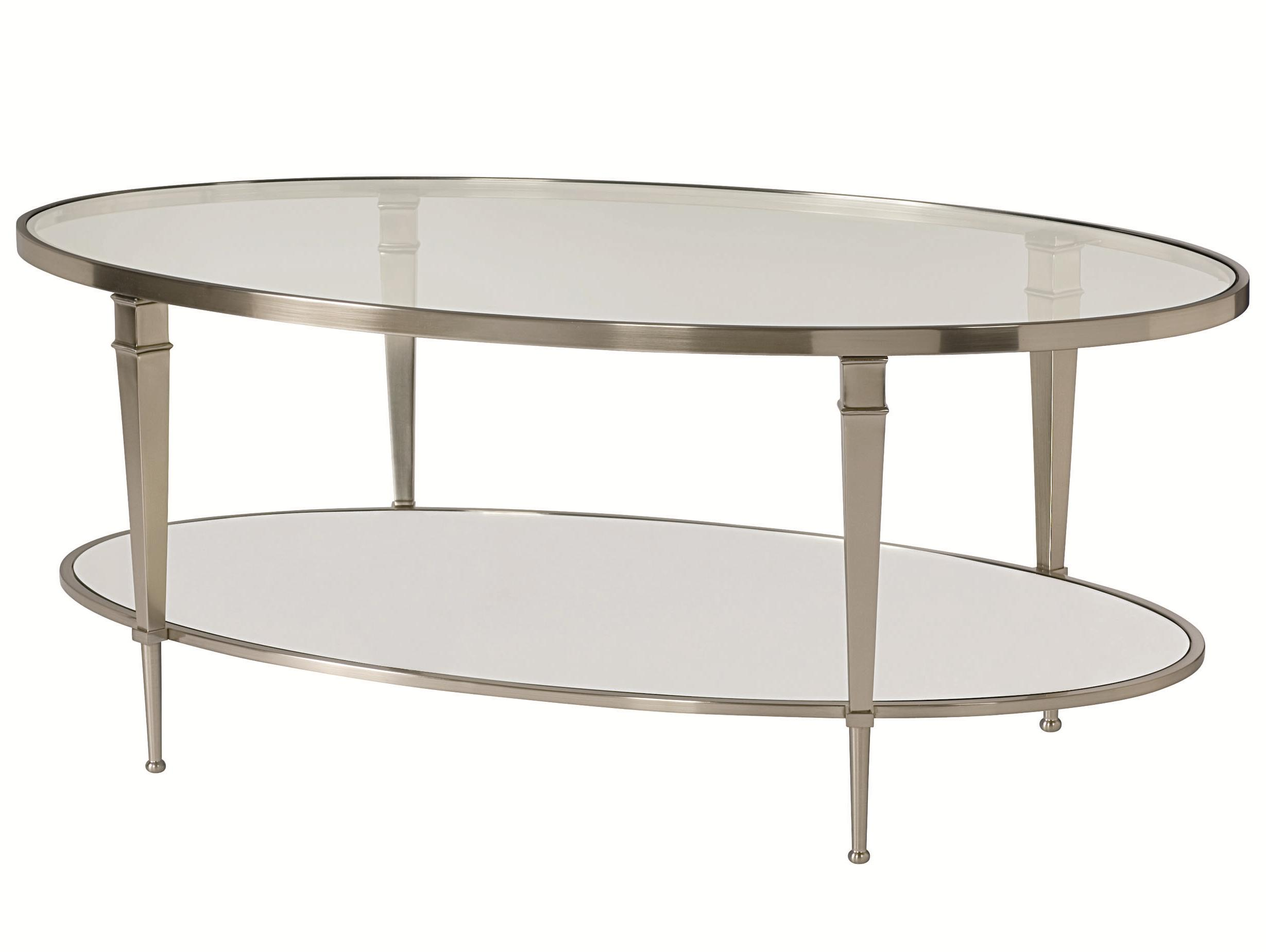 Finish Tables Oval Satin Nickel Antique Mirror Finish Cocktail Table By