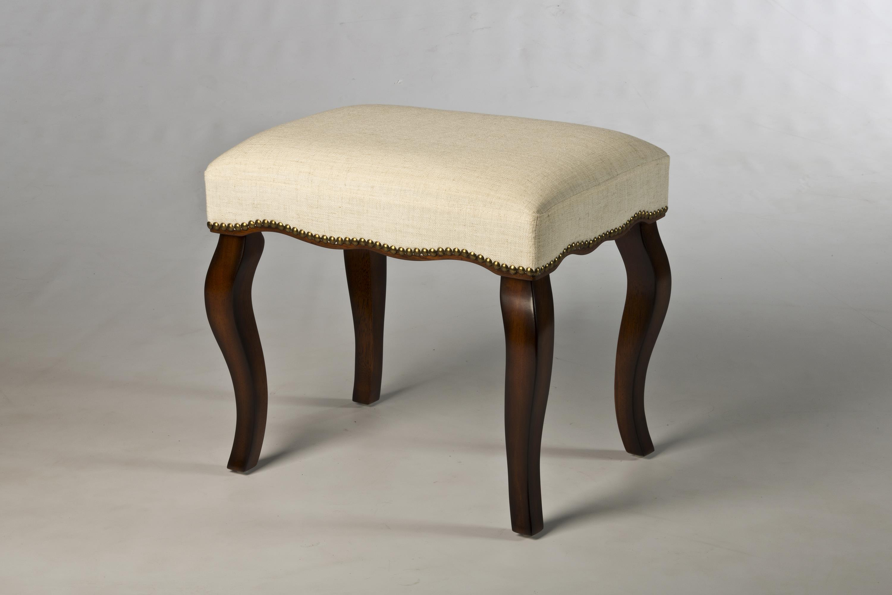 Wooden Vanity Chair Hamilton Backless Vanity Stool With Curved Legs By