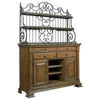 Solid Wood Sideboard with Marble Top and Wrought Iron ...