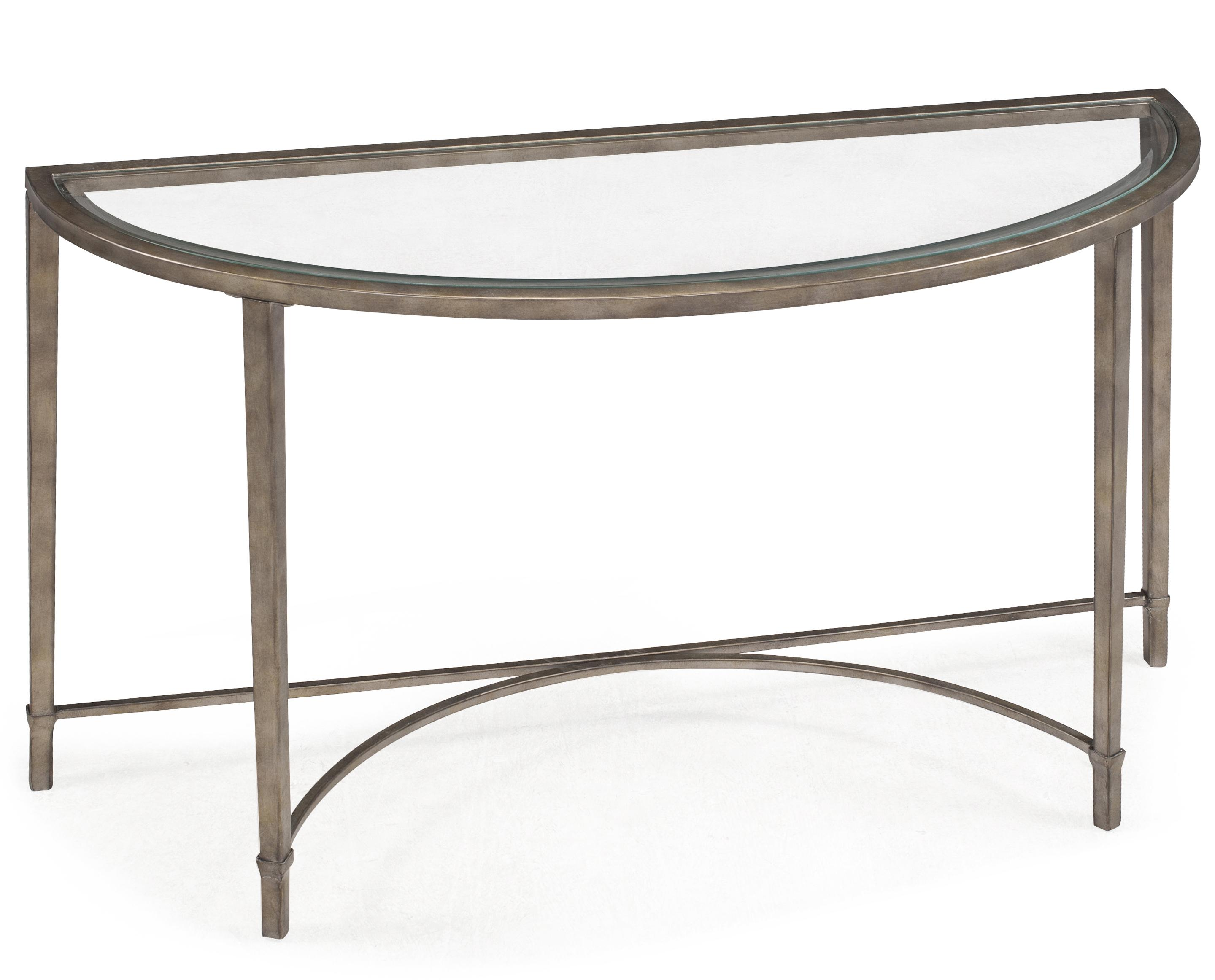 Glass And Steel Coffee Tables Metal And Glass Demilune Sofa Table By Magnussen Home