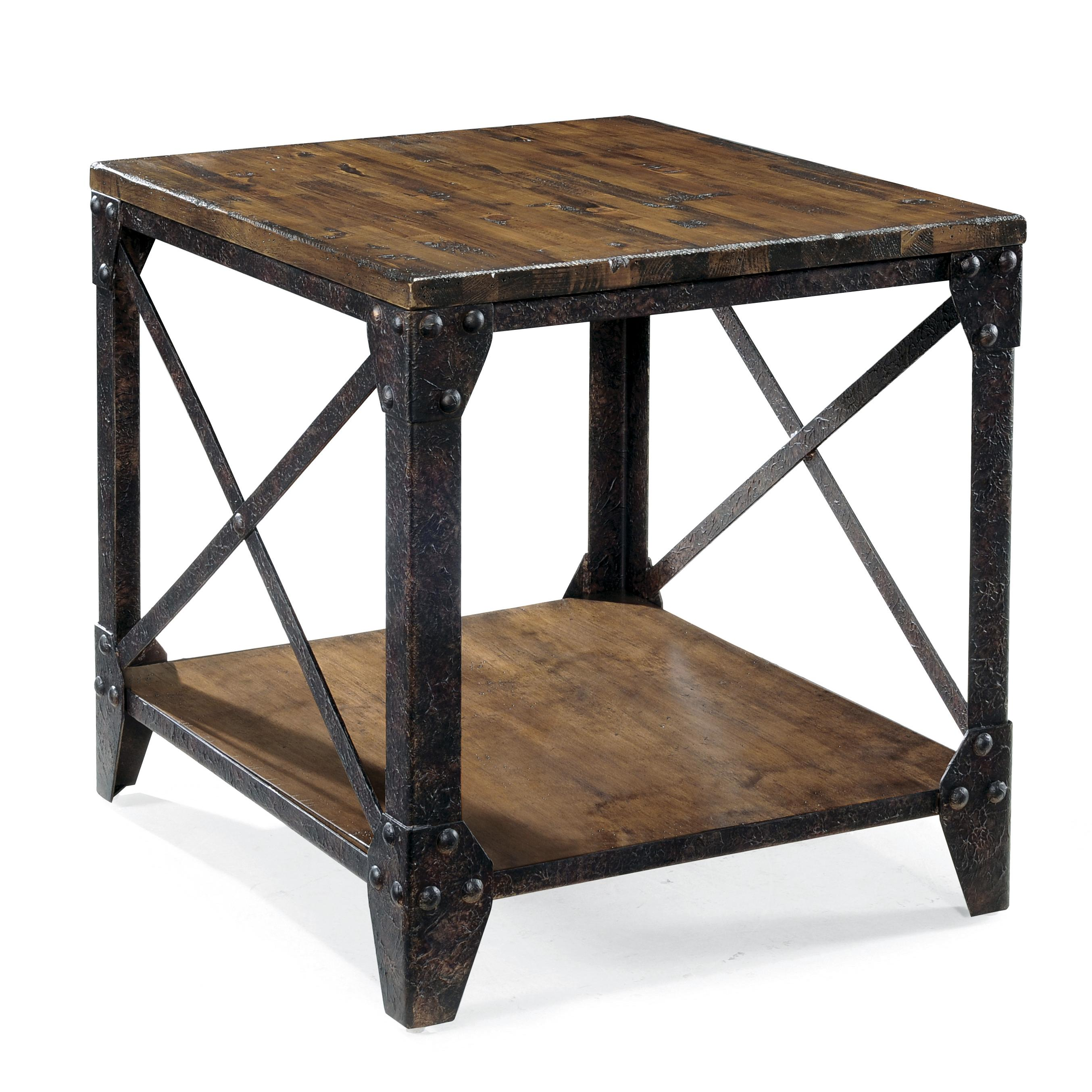 Industrial Look End Tables Rectangular End Table With Rustic Iron Legs By Magnussen