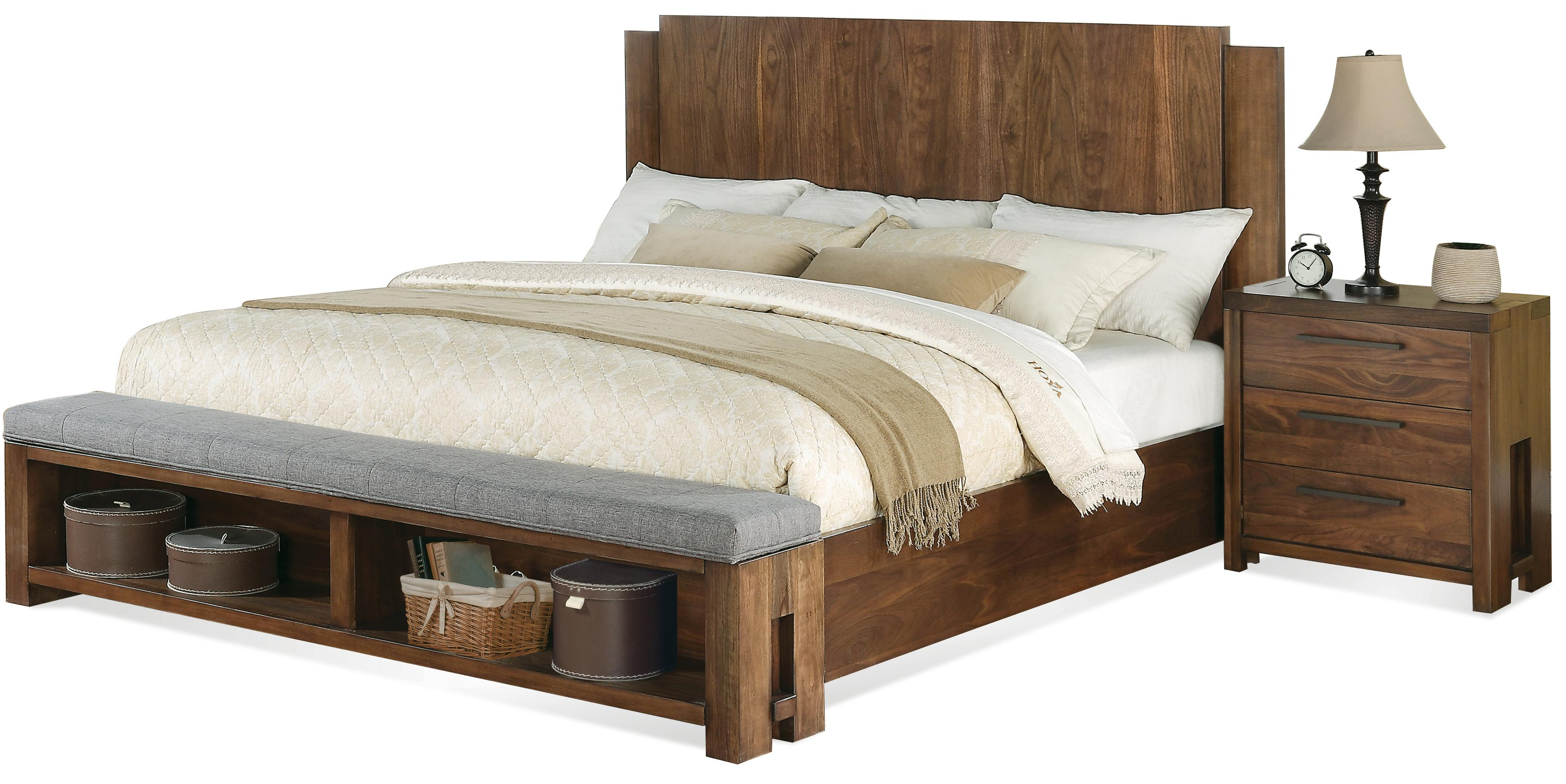 Bed Low Profile Queen Low Profile Panel Bed W Bench By Riverside