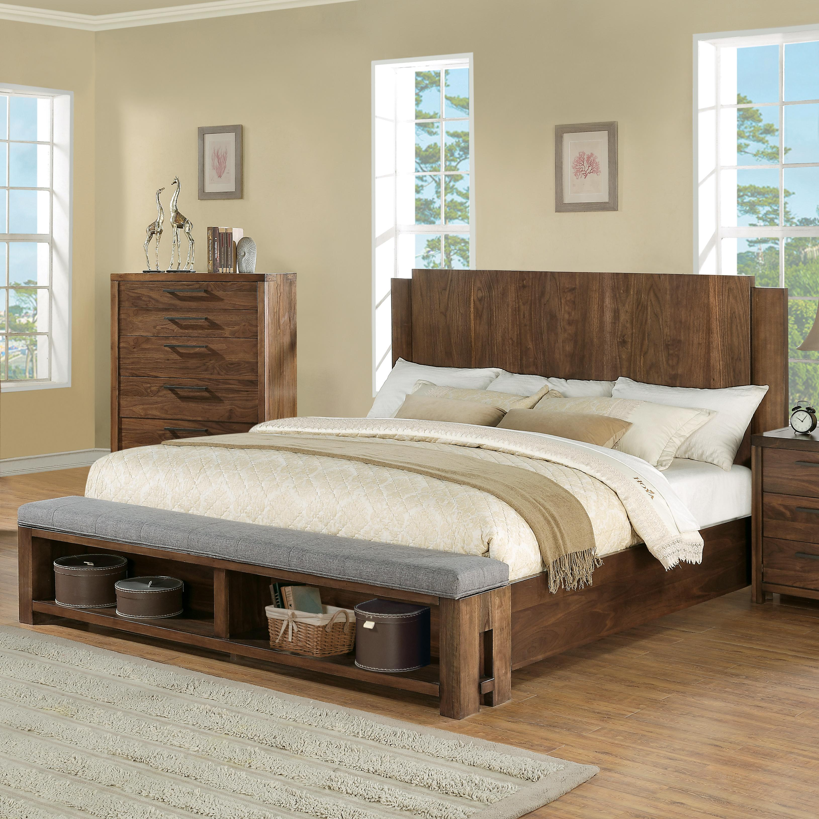Bedroom Bench King Bed Queen Low Profile Panel Bed W Bench By Riverside