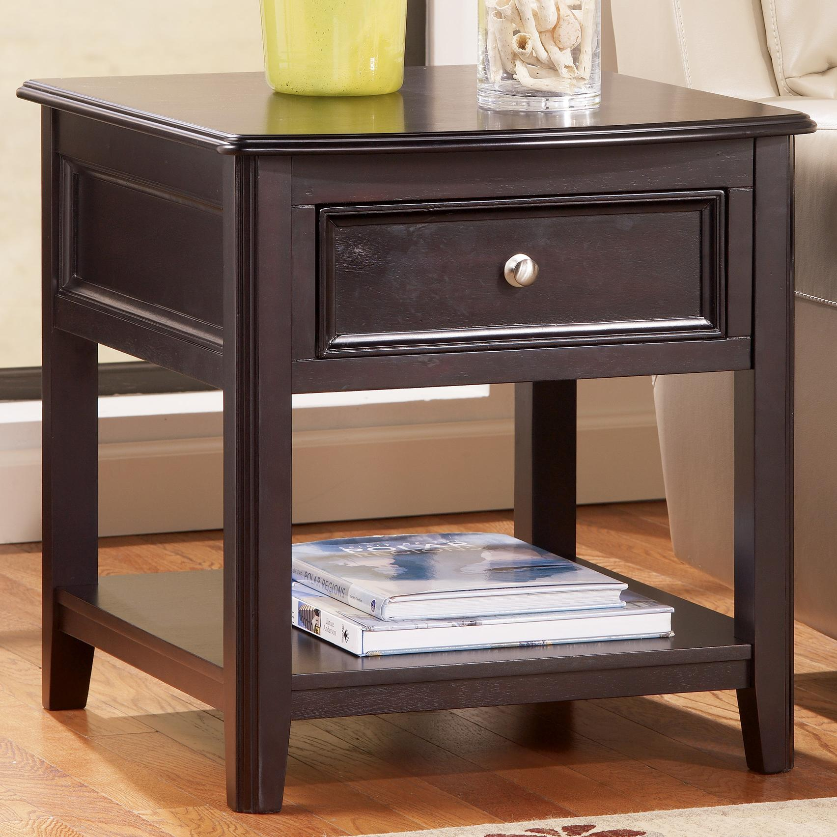 Small Black End Table Rectangular End Table With Drawer And Bottom Shelf By
