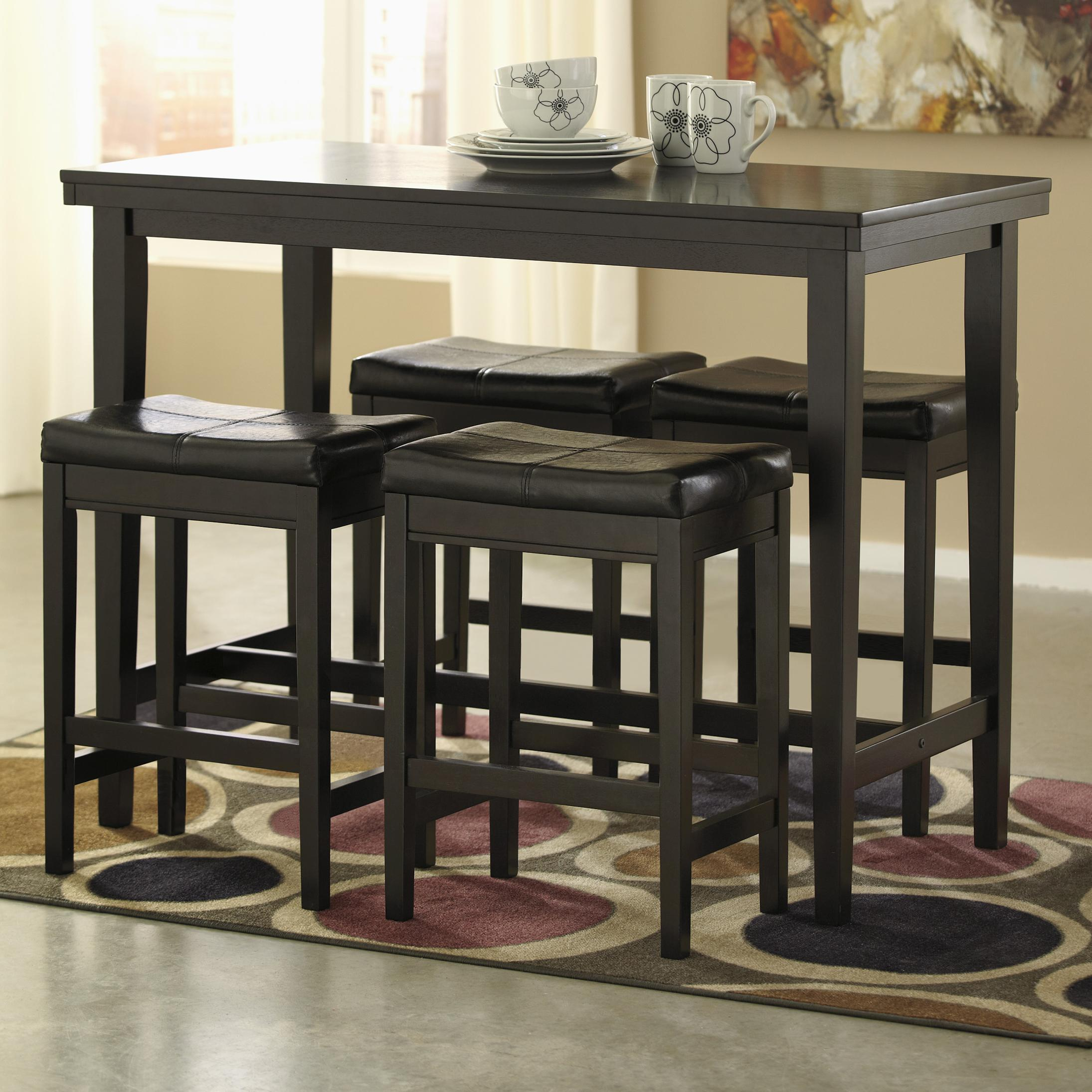 Bar Stools And Table Set 5 Piece Counter Table Set With Dark Brown Upholstered