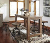 5-Piece Counter Table Set with Industrial Style Adjustable ...