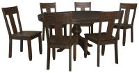 7-Piece Oval Dining Table Set with Wood Seat Side Chairs ...