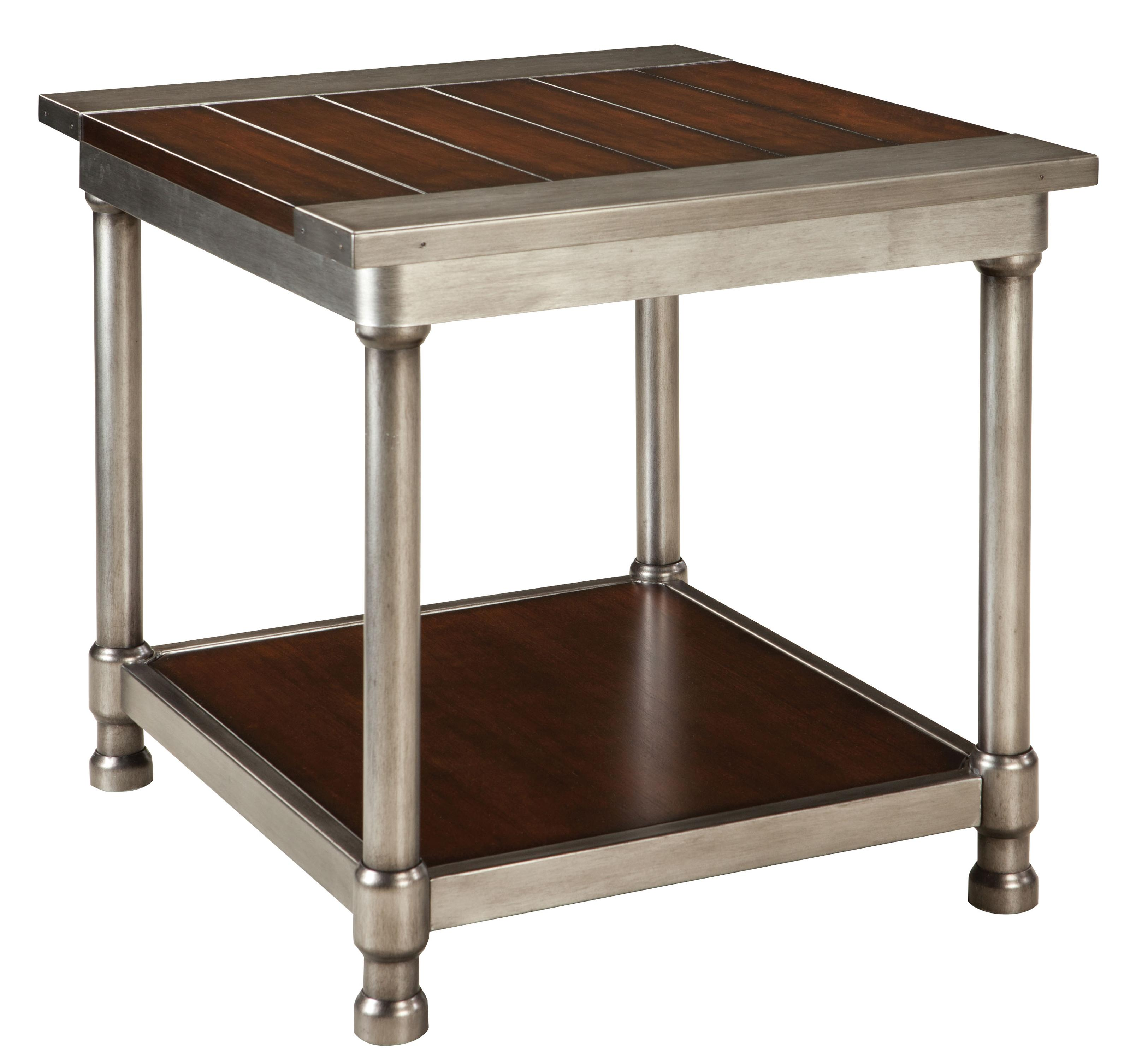 Wood And Metal Side Tables Contemporary Single Shelf End Table With Plank Style Wood