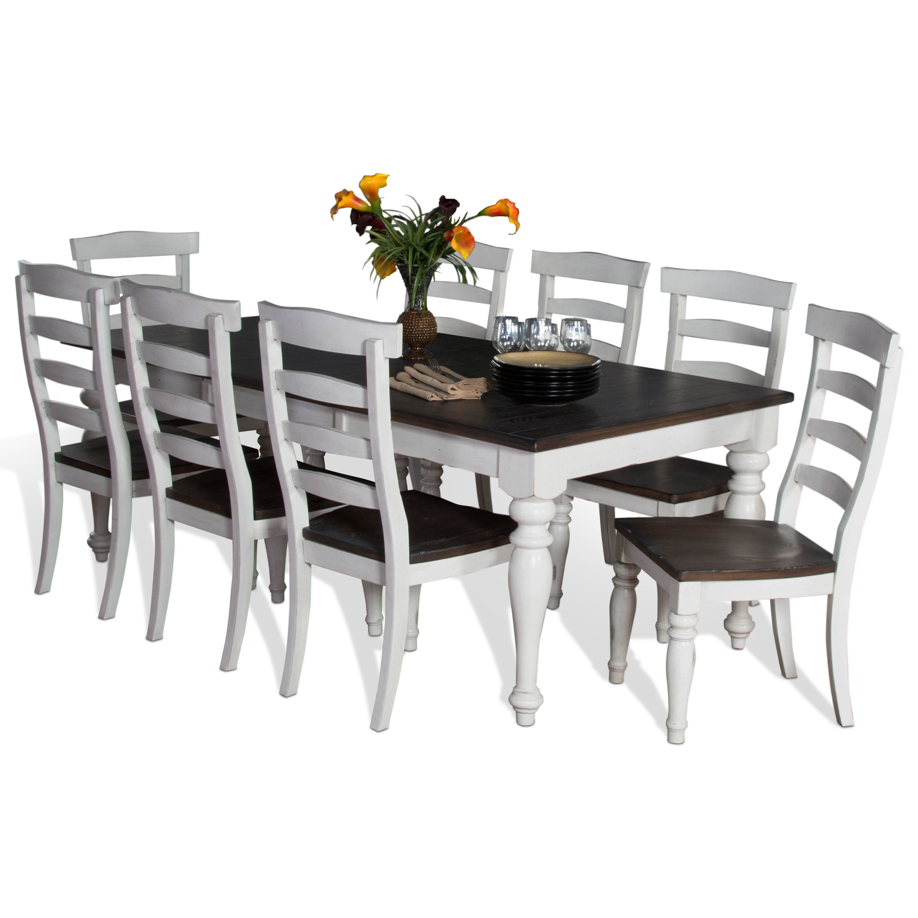 9 Piece Extension Dining Table Set With Ladderback Chairs