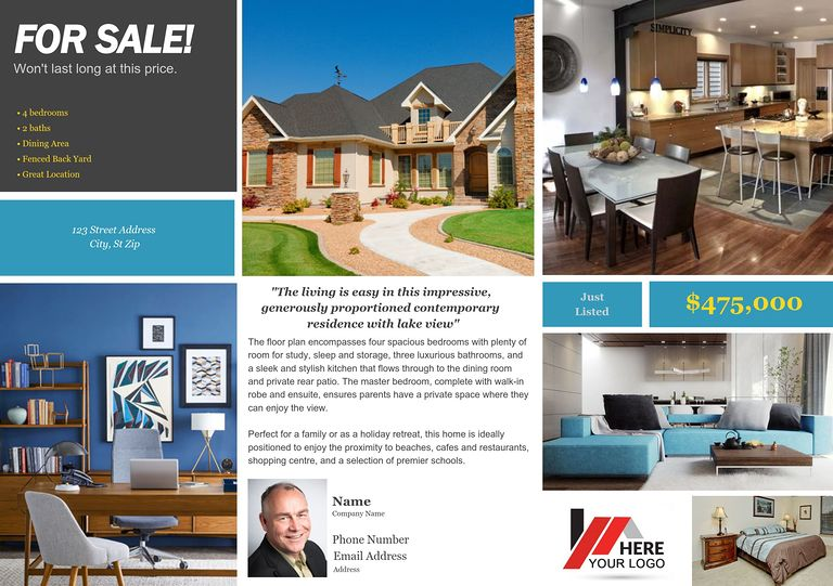 Real Estate Flyer and Postcard Templates by FlyerCo - home for sale brochure