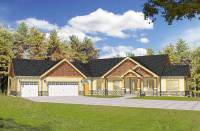 Craftsman with Vaulted Ceilings and Angled Garage ...