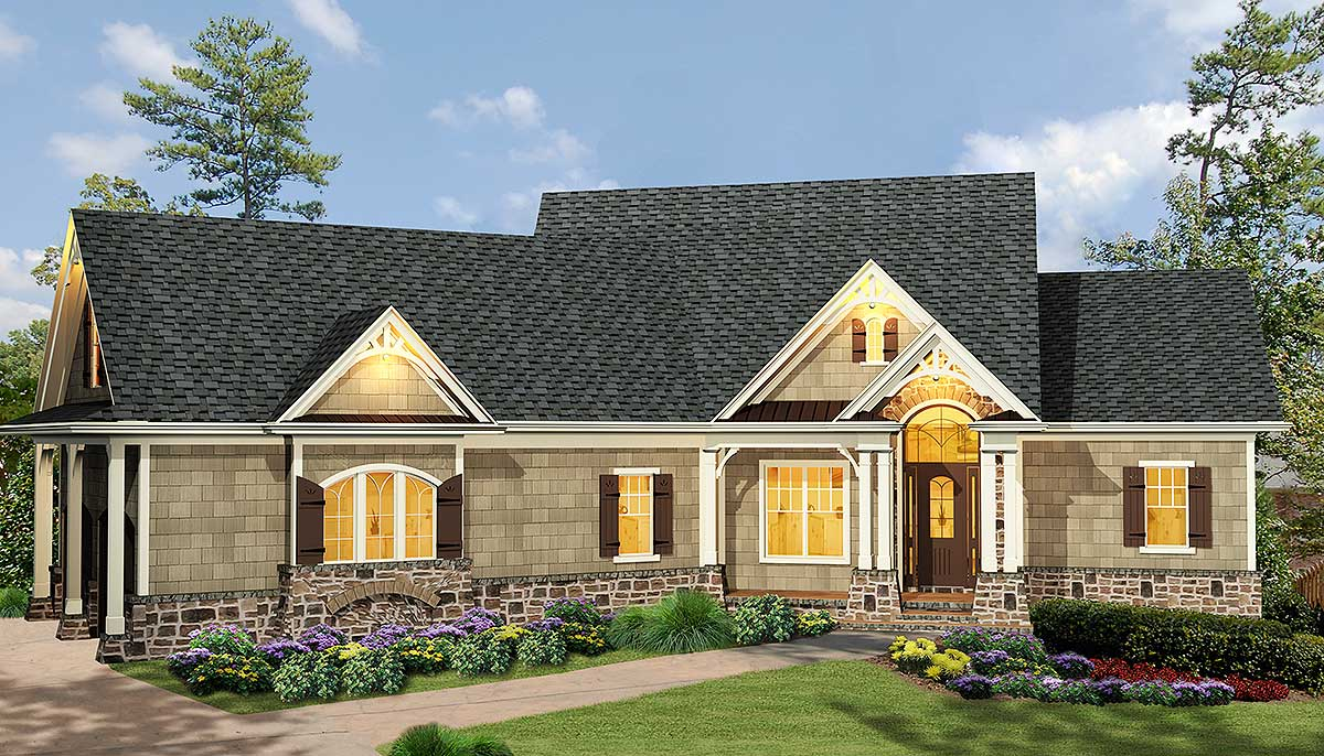 plan w15885ge affordable gable roofed ranch home plan