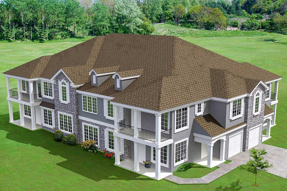 8-Unit House Plan with Corner Decks - 18511WB | Architectural Designs - House Plans