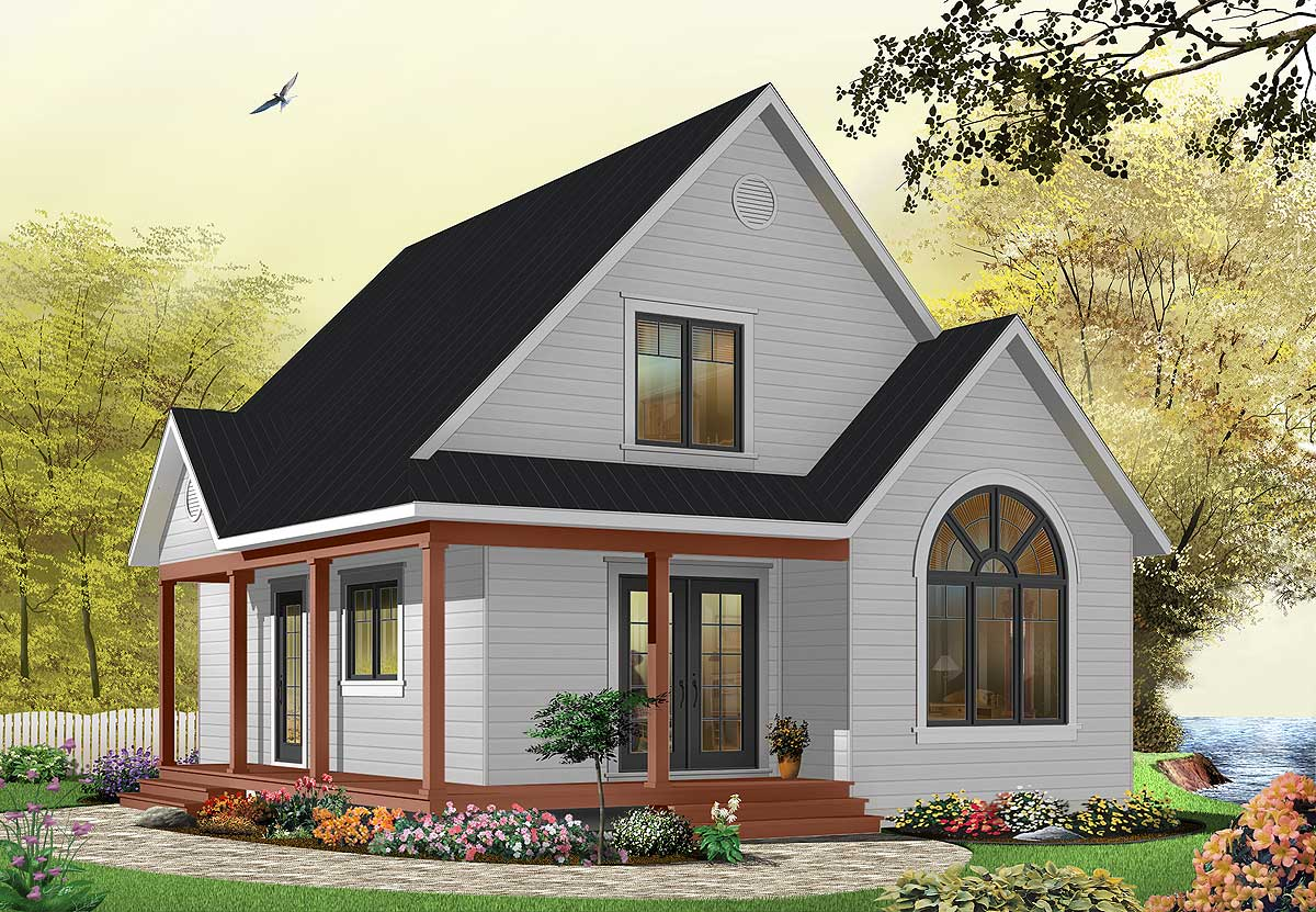 French Country Small House With Wrap Around Porch Country Cottage With Wrap Around Porch 21492dr