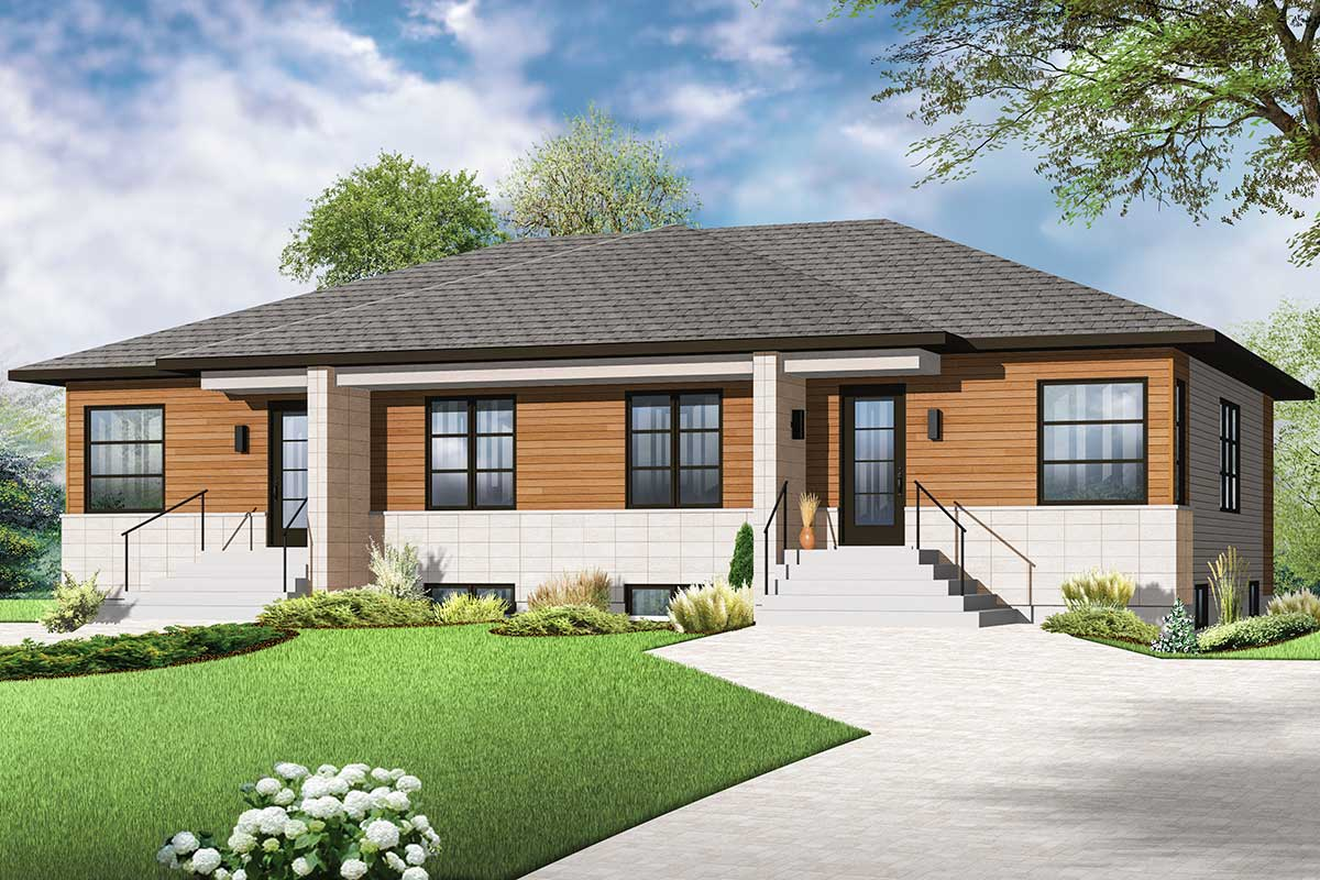 Modern Family Home Plans Contemporary Two Family Home Plan 22342dr