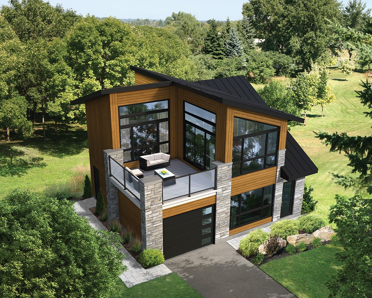 2 Floor House Design Dramatic Contemporary With Second Floor Deck 80878pm