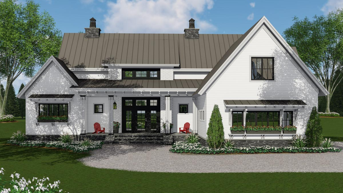 Modern Farmhouse Plan with 3-Beds Down and Bonus Over ...