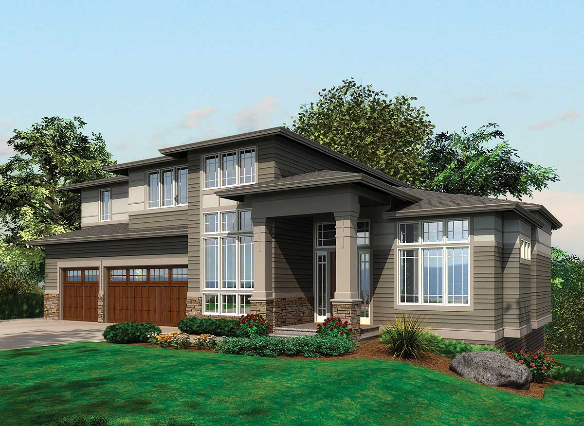 Modern Homes Plans Contemporary Prairie With Daylight Basement 69105am