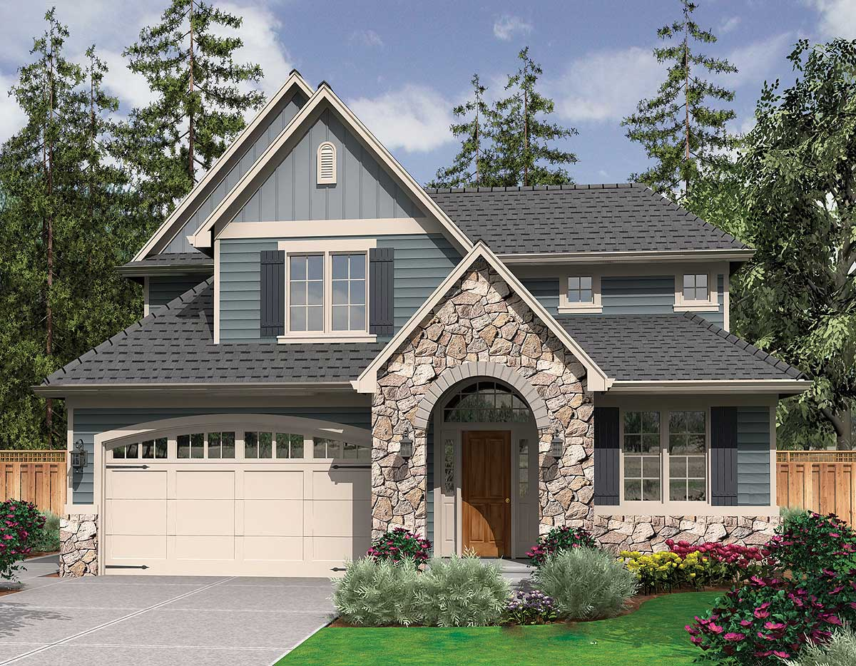 Home Desighn Starter Home Plan With English Country Charm 6990am