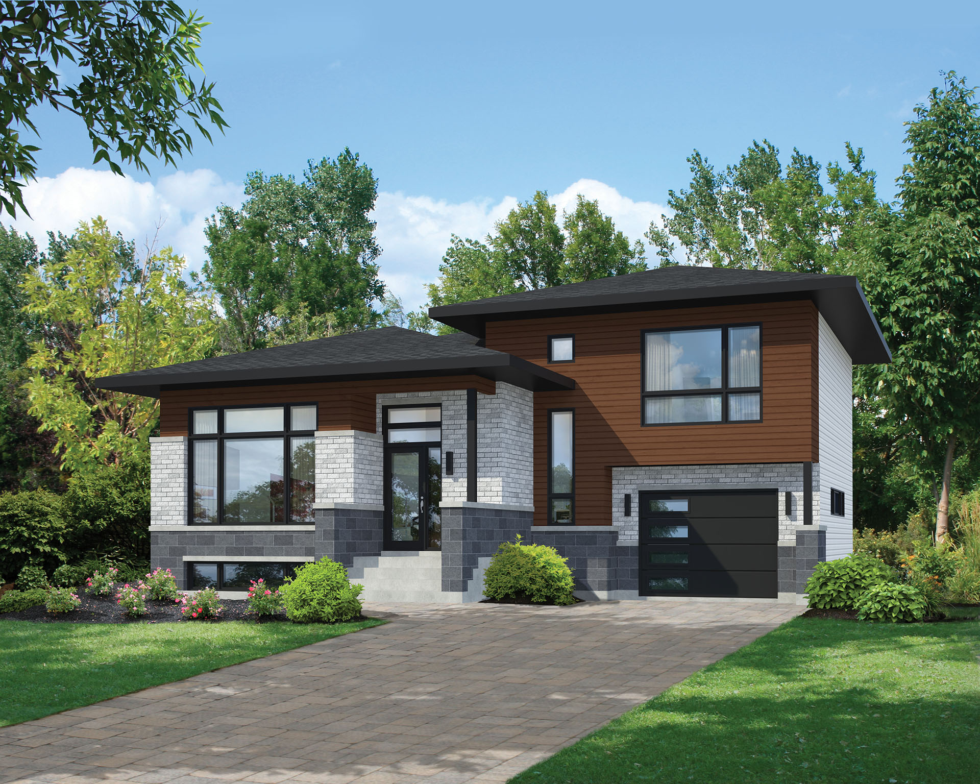 Modern Homes Plans Split Level Contemporary House Plan 80789pm