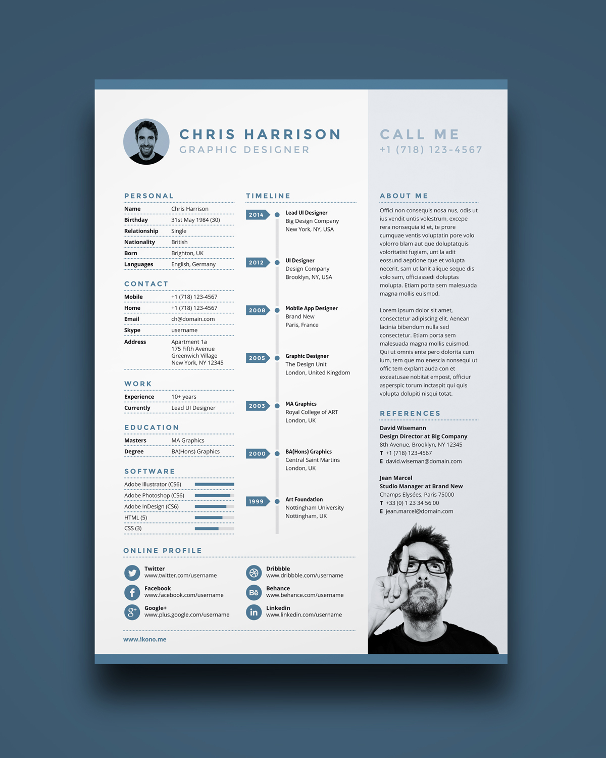 template cv sur indesign